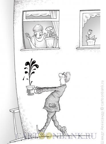 Карикатура: Нефть в горшочке (ч/б), Шмидт Александр