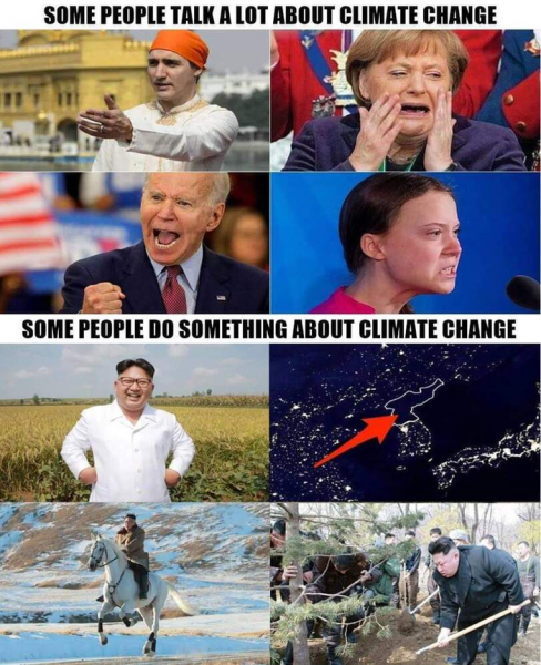 """Мем: Перевод: """"некоторые люди много говорят о глобальном потеплении. А некоторые реально борются с глобальным потеплением."""""""