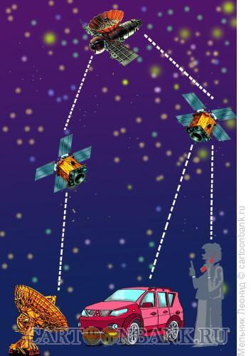 Карикатура: Спутниковая связь, Мельник Леонид