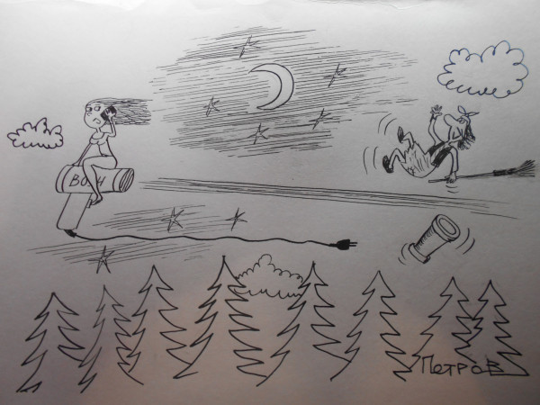 Карикатура: девушка на фене, Петров Александр