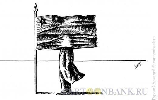 Карикатура: Голова в знамени, Гурский Аркадий