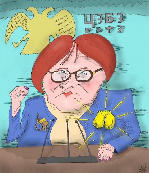 Карикатура: Не в брошь, а в дрожь, Ипполит Сбодунов