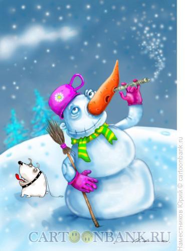 Карикатура: Снеговик - нюхач!, Наместников Юрий