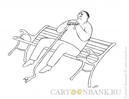 Карикатура: старик на скамье, Гурский Аркадий