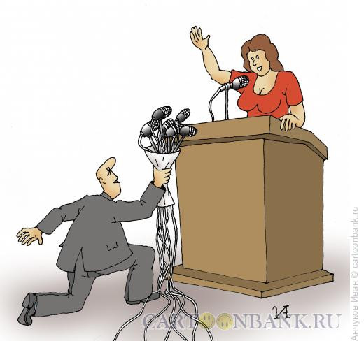 Карикатура: Букет микрофонов, Анчуков Иван