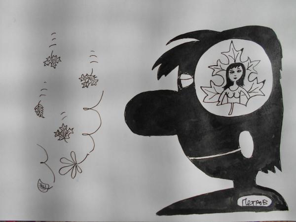 Карикатура: Мужчина и осень, Петров Александр