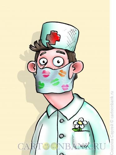 Карикатура: поцелуй вируса, Соколов Сергей