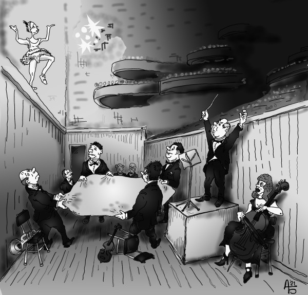 Карикатура: Оркестровая яма, backdanov
