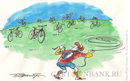 Карикатура: велосипеды на воле, Эренбург Борис