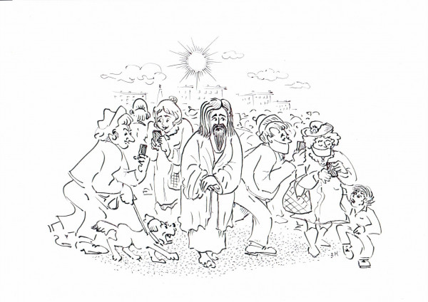 Карикатура: Явление Христа народу, Зеркаль Николай Фомич
