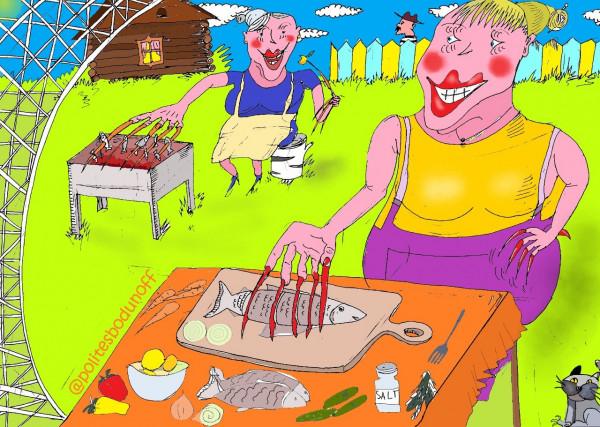 Карикатура: Приятное с полезным, Ипполит Сбодунов