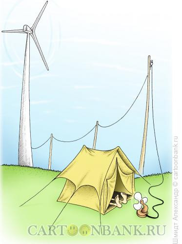 Карикатура: Ветер и ветерок, Шмидт Александр