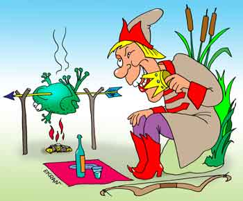 Карикатура: Царевич на пикнике, Евгений Кран