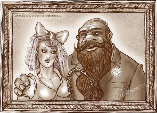 Карикатура: СВАДЕБНОЕ ФОТО БАРАБАСА И МАЛЬВИНЫ, Kalininskiy (Валентин Калининский)