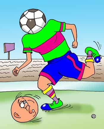 Карикатура: Играть надо с головой!, Евгений Кран