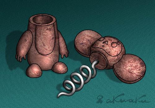 Карикатура: Маленький помощник. Бакелит, Андрей Кузнецов