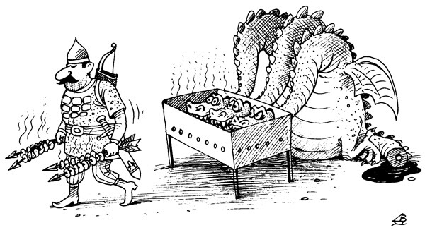 Карикатура: Шашлык, Валентин Дубинин