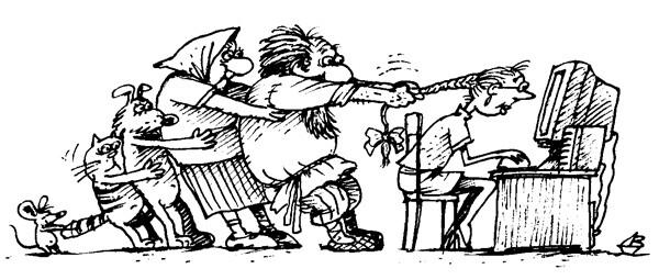 Карикатура: За внучку..., Валентин Дубинин