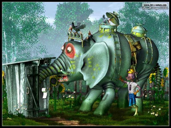 Карикатура: По улицам слона водили..., Иванов Игорь