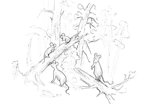 Карикатура: Мышкин. Утро в сосновом бору, Рябов Евгений