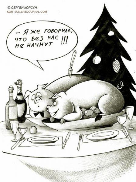 Карикатура: КОНЕЦ ГОДА СВИНЬИ 2, Сергей Корсун
