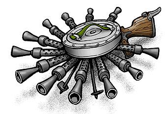 Карикатура: Пулемет для круговой обороны, Глеб Андросов
