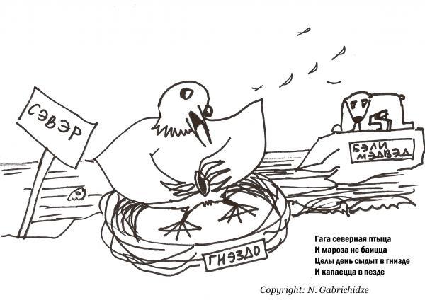Карикатура: Гага северная птыца, Nick Gabrichidze