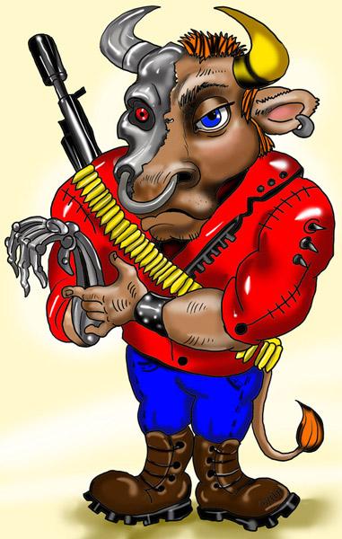 Карикатура: терминатор с рогами, arzo