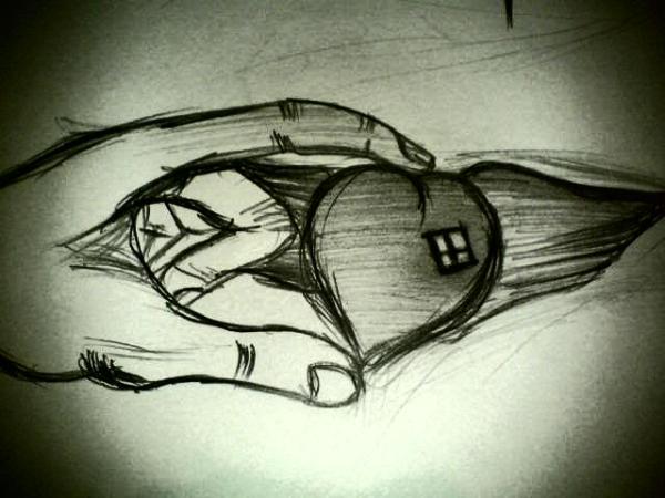 Карикатура: СЕрдце в руках человека, Flash