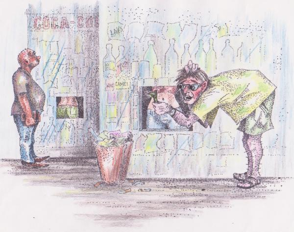 Карикатура: Ларьки: приветливые лица продавцов, Владимир