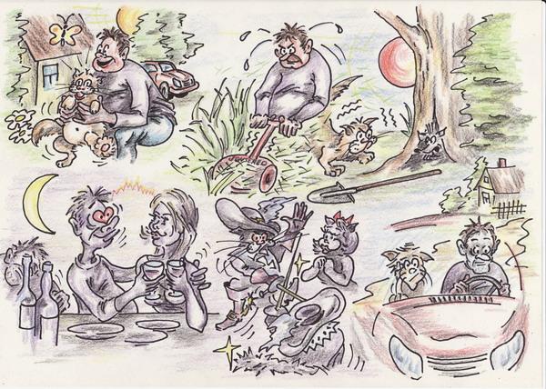 Карикатура: Выходные.Деревенский отдых., Владимир