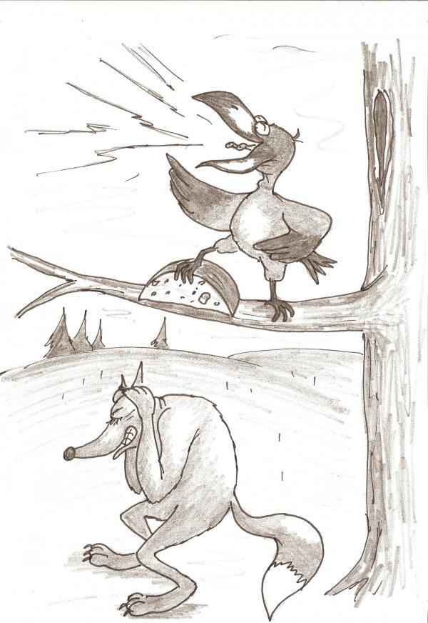 Карикатура: Ворона и лисица, Серебряков Роман