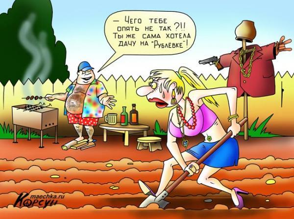 Карикатура: Дача на Рублевке, Сергей Корсун