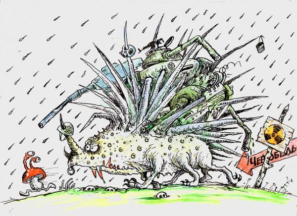 Карикатура: Противотанковый ежик, Бауржан Избасаров