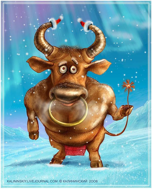 Карикатура: Идет бычок..., Kalininskiy (Валентин Калининский)