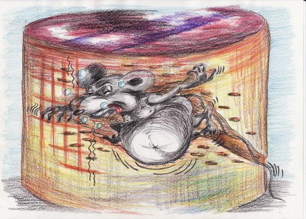 Карикатура: Бесплатный сыр бывает!, Владимир Уваров