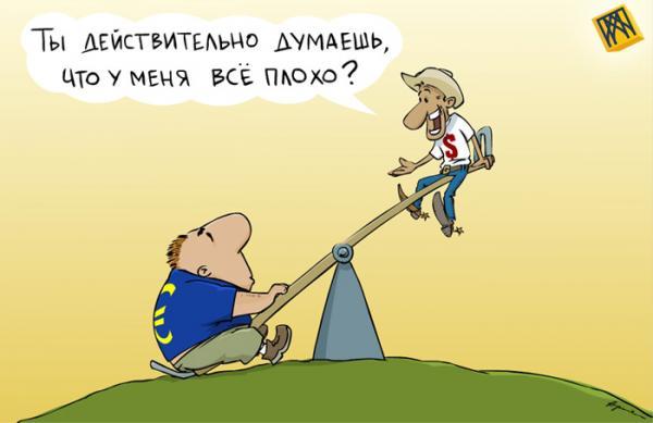 Карикатура: Европа и Америка спасают доллар, A.Merkushev