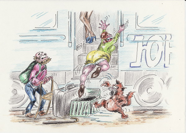 Карикатура: На дальней станции сойду, Владимир Уваров