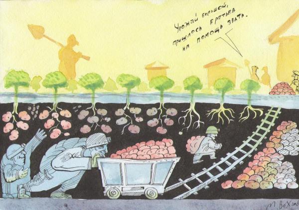 Карикатура: урожай., михаил ворожцов