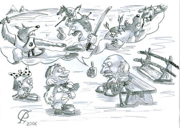 Карикатура: Колобок. Страшная сказка, Серебряков Роман