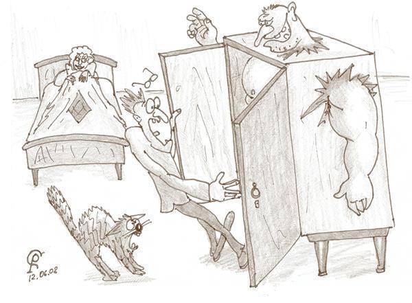 Карикатура: Шкафчик, Серебряков Роман