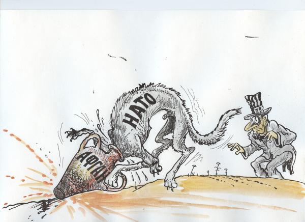 Карикатура: железная хватка востока, Избасаров  Бауржан