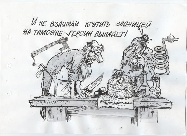Карикатура: колобок-наркокурьер, Избасаров Бауржан
