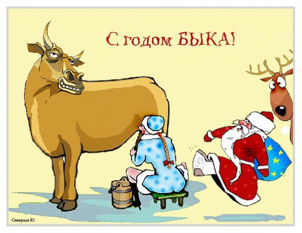 Карикатура: С годом БЫКА!, Юрий Сиверцев