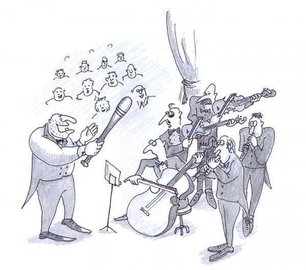 Карикатура: Дирижёр, Серебряков Роман