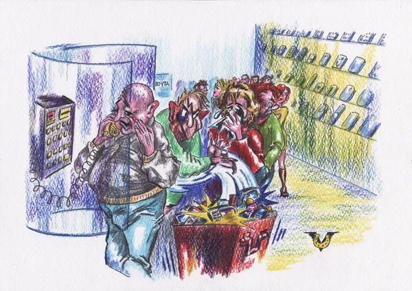 Карикатура: Мобильник - передатчик мыслей, Владимир Уваров