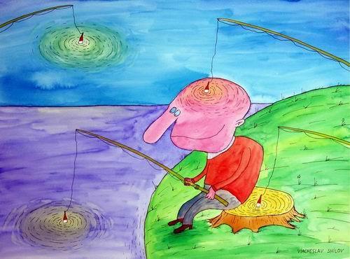 Карикатура: Рыбалка, Вячеслав Шилов