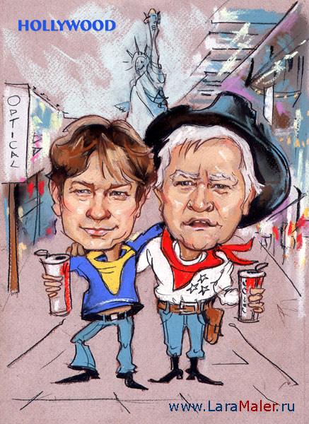Карикатура: Наши в Голливуде
