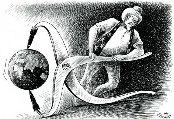 Карикатура: В клещах, Александр Умяров