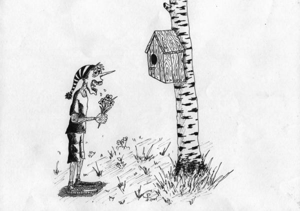 Карикатура: Влюблённый Буратино, Серебряков Роман
